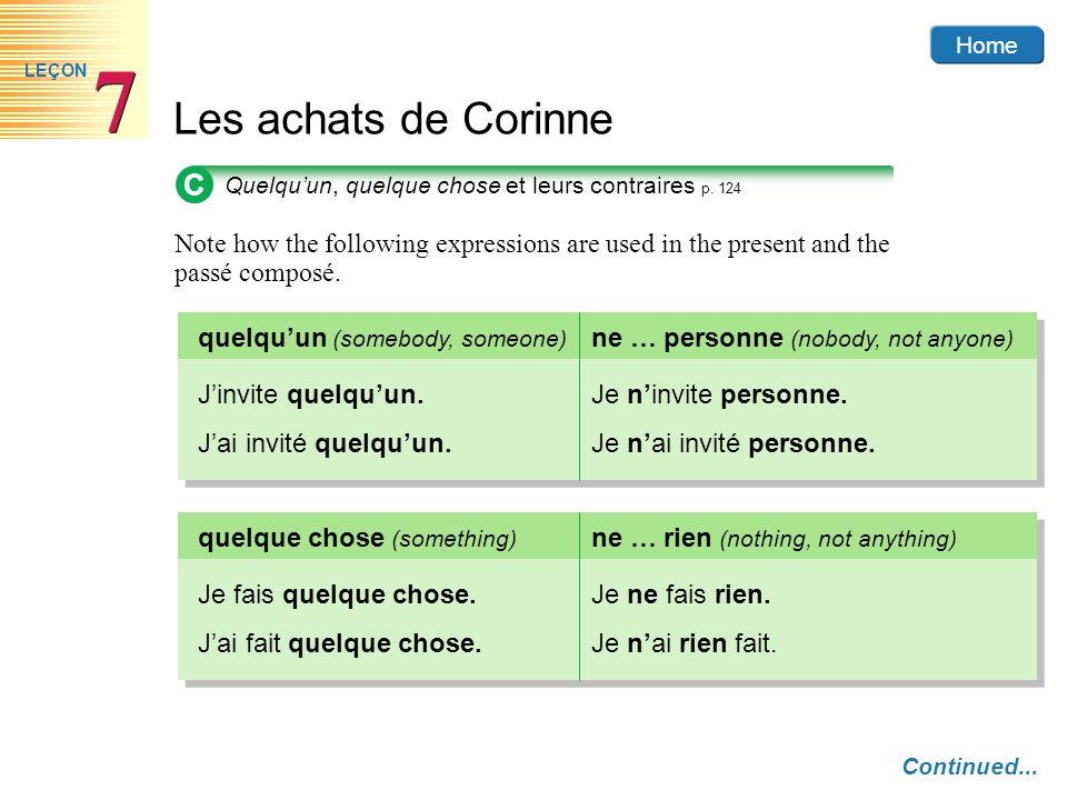 Home Les achats de Corinne 7 7 LEÇON C Quelquun, quelque chose et leurs contraires p. 124 Note how the following expressions are used in the present a