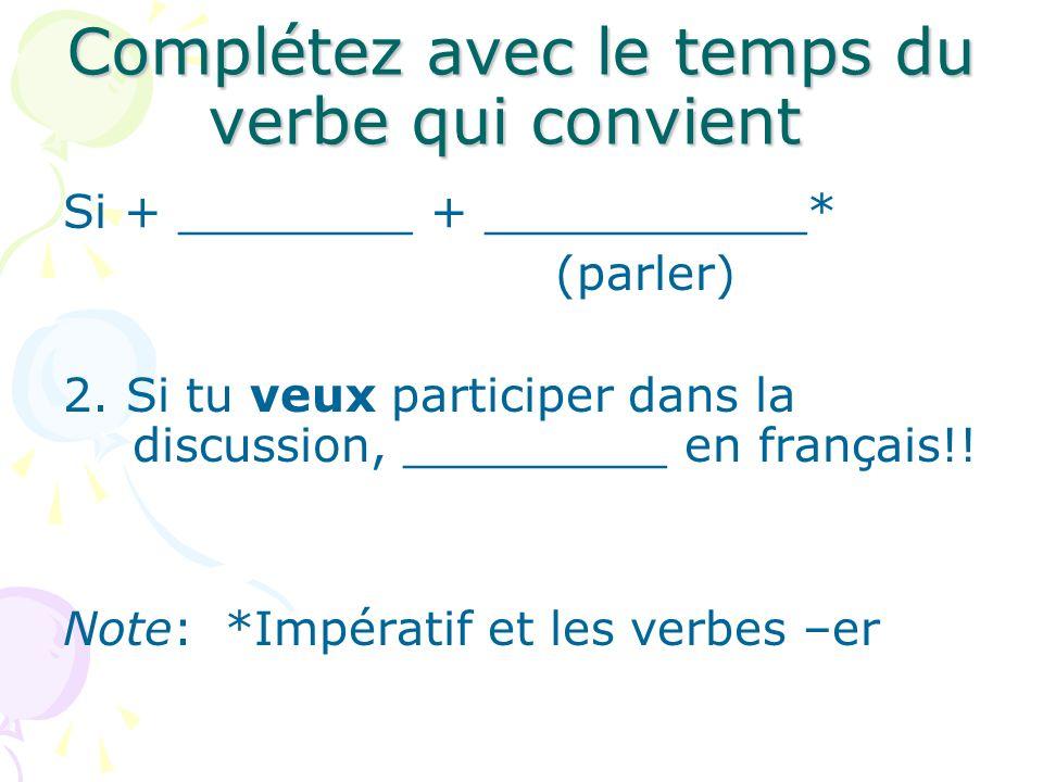 Complétez avec le temps du verbe qui convient Si + ________ + ___________* (parler) 2. Si tu veux participer dans la discussion, _________ en français