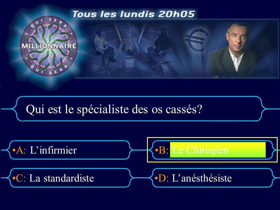 A:B: D:C: Qui est le spécialiste des os cassés.