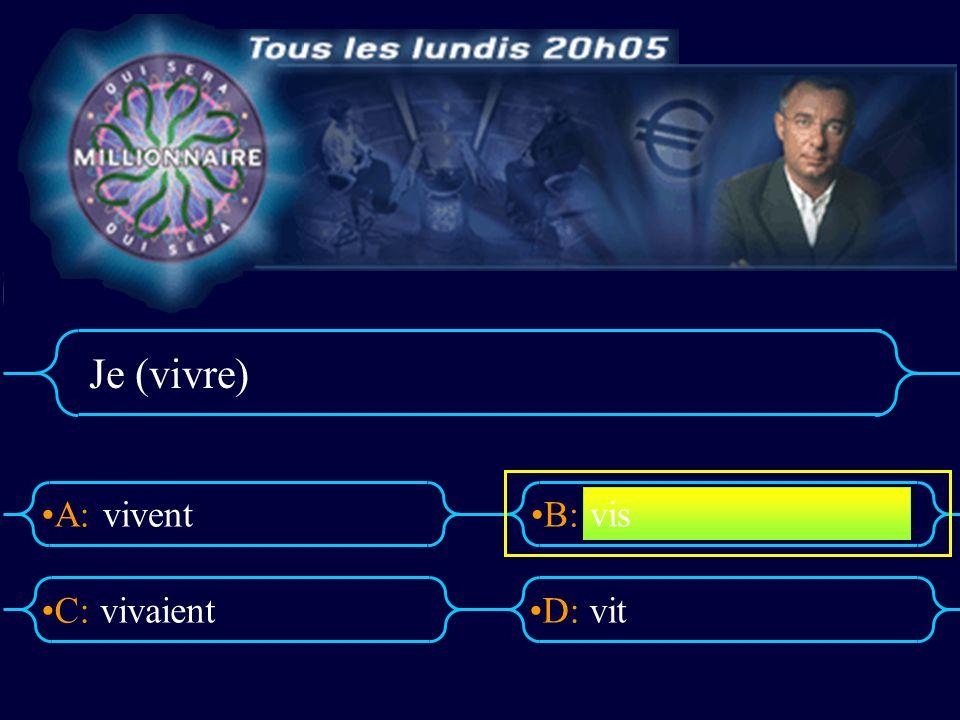 A:B: D:C: Je (vivre) vivent vivaientvit vis