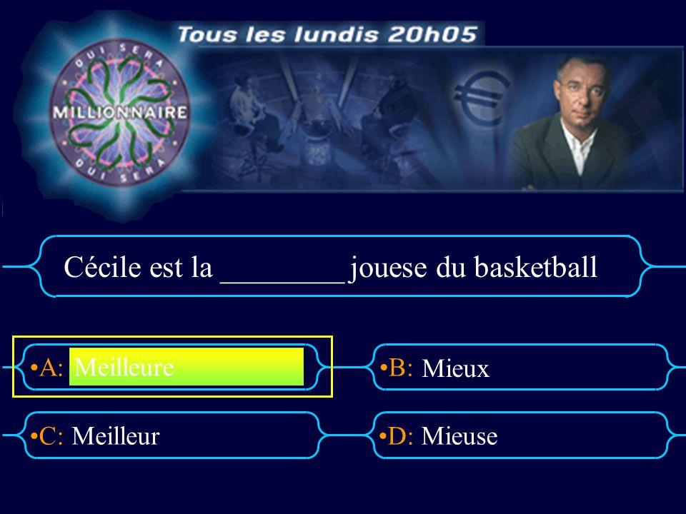 A:B: D:C: Cécile est la ________ jouese du basketball MeilleurMieuse Meilleure Mieux