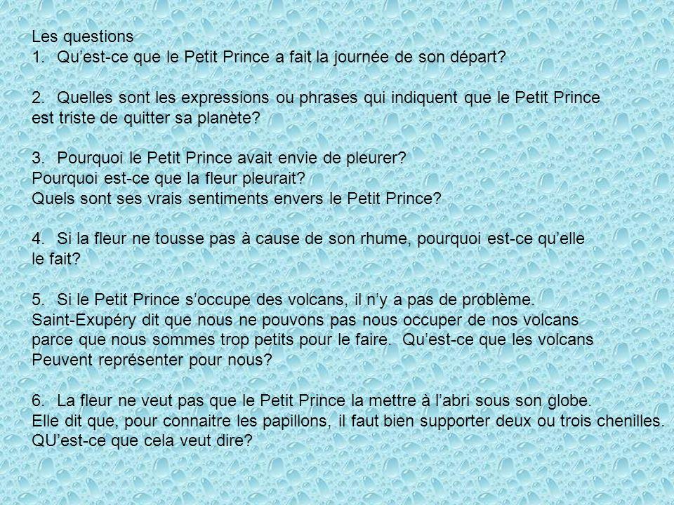 Les questions 1.Quest-ce que le Petit Prince a fait la journée de son départ? 2.Quelles sont les expressions ou phrases qui indiquent que le Petit Pri