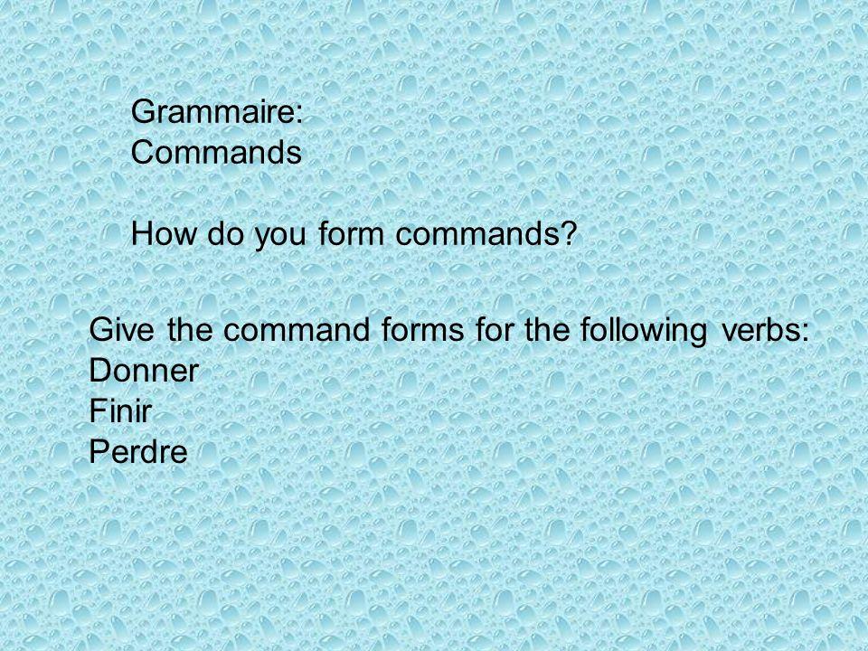 Donnedonnezdonnons FinisFinissezFinissons PerdsPerdezPerdons When is it OK to add an S to the tu form of –er verb commands.