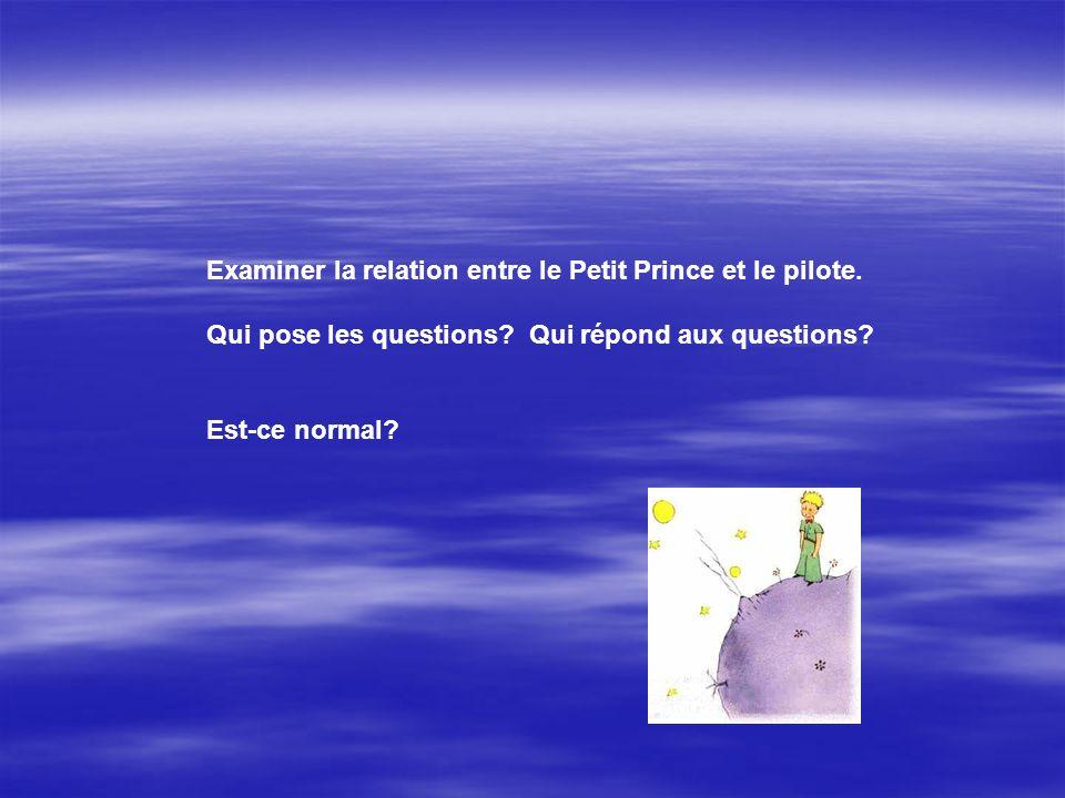 Examiner la relation entre le Petit Prince et le pilote. Qui pose les questions? Qui répond aux questions? Est-ce normal?