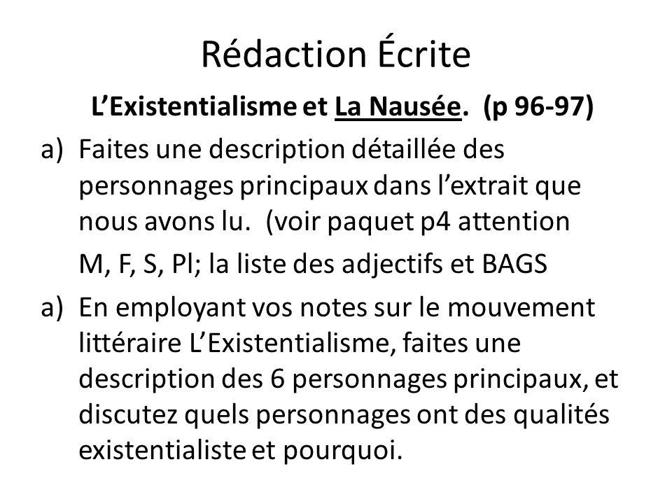 Rédaction Écrite LExistentialisme et La Nausée. (p 96-97) a)Faites une description détaillée des personnages principaux dans lextrait que nous avons l