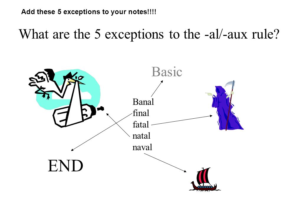 What are the 5 exceptions to the -al/-aux rule.