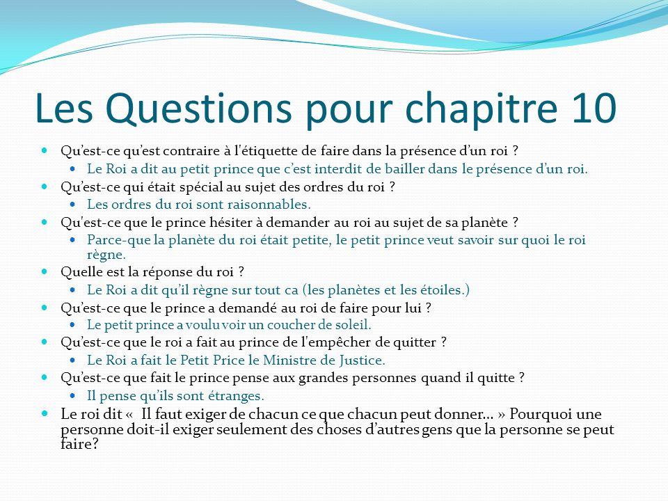 Les Questions pour chapitre 10 Quest-ce quest contraire à l'étiquette de faire dans la présence dun roi ? Le Roi a dit au petit prince que cest interd