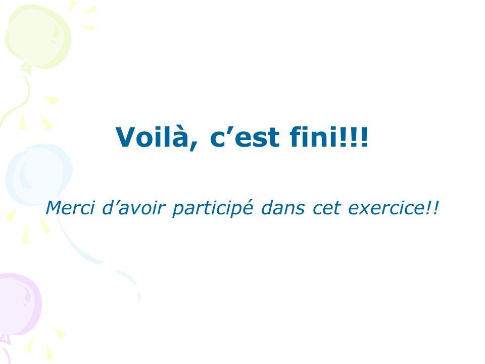 Voilà, cest fini!!! Merci davoir participé dans cet exercice!!