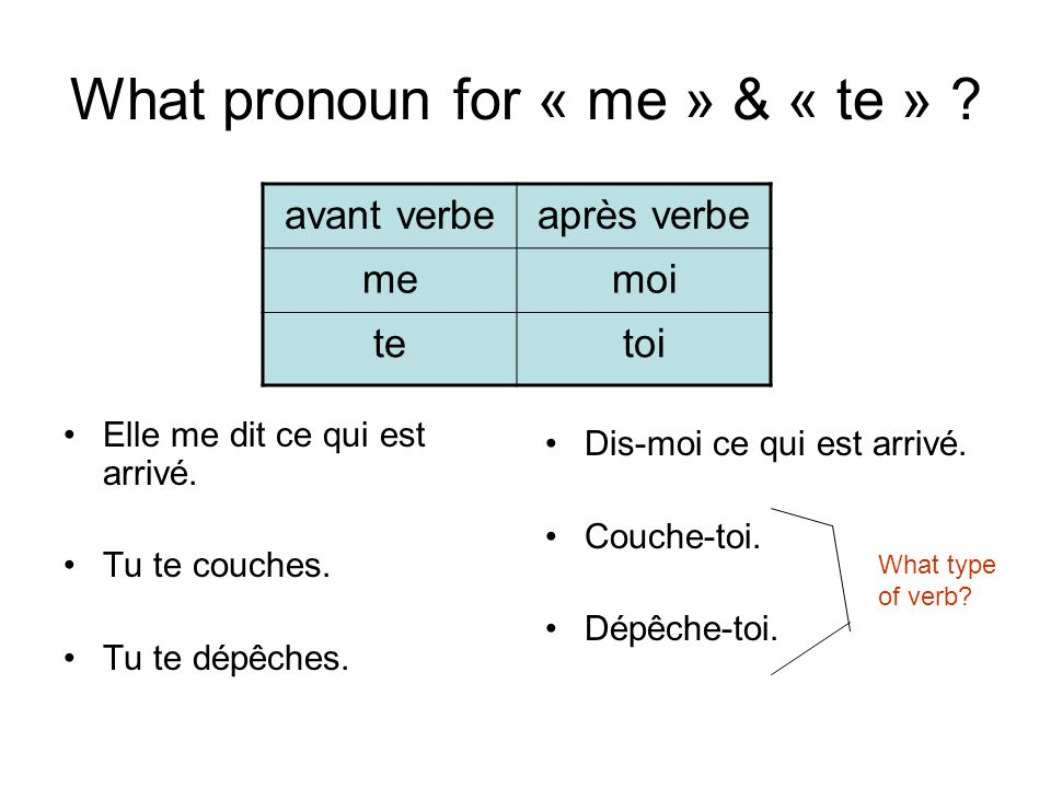 What pronoun for « me » & « te » . Elle me dit ce qui est arrivé.