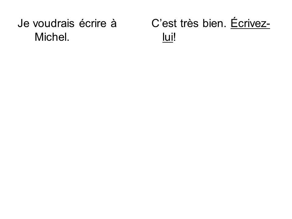 Je voudrais écrire à Michel. Cest très bien. Écrivez- lui!