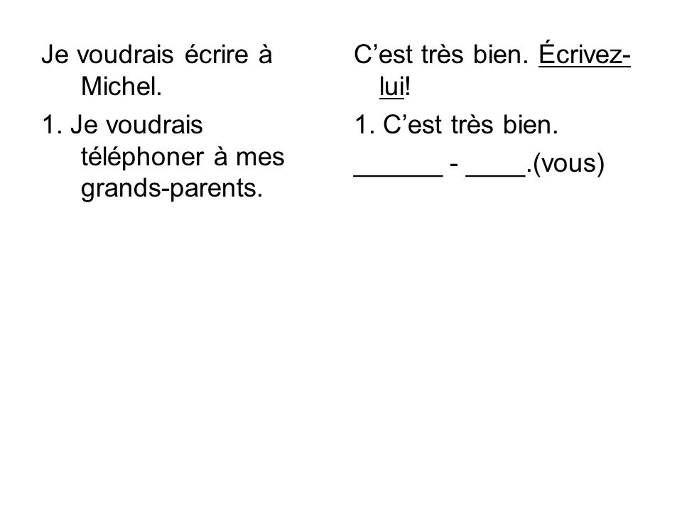 Je voudrais écrire à Michel. 1. Je voudrais téléphoner à mes grands-parents.