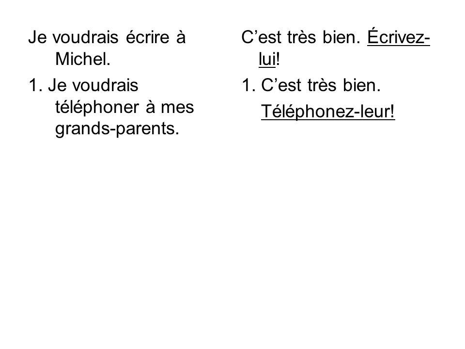 Je voudrais écrire à Michel.1. Je voudrais téléphoner à mes grands-parents.