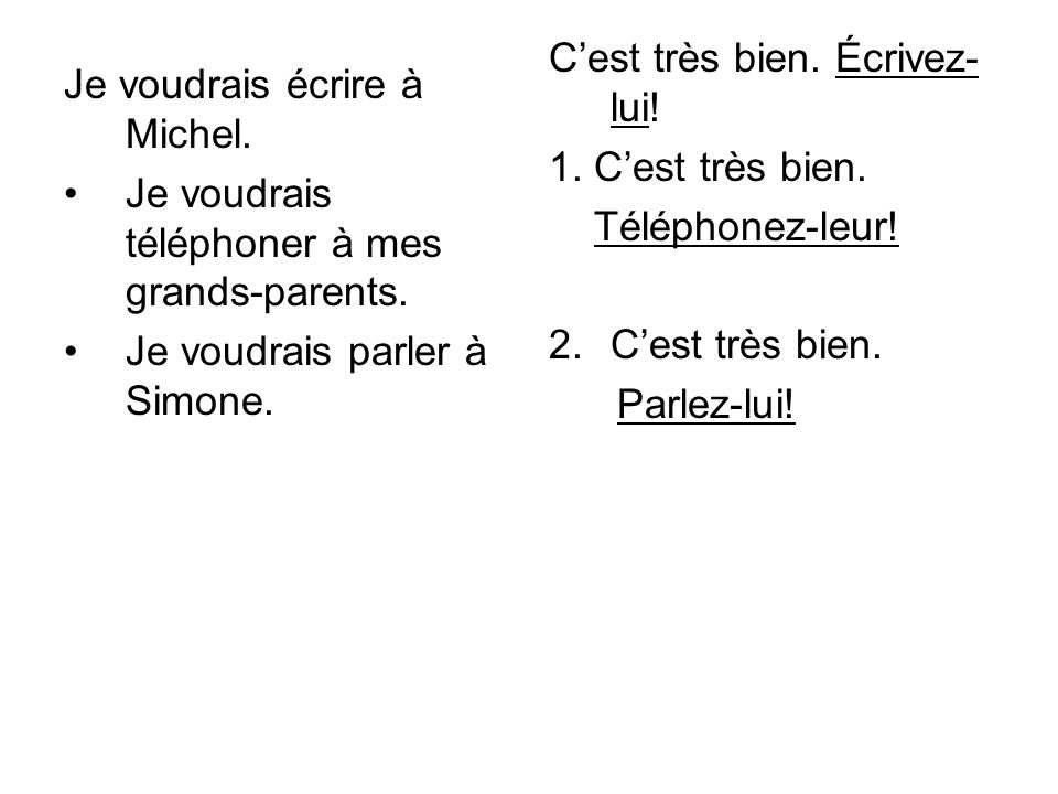 Je voudrais écrire à Michel. Je voudrais téléphoner à mes grands-parents.