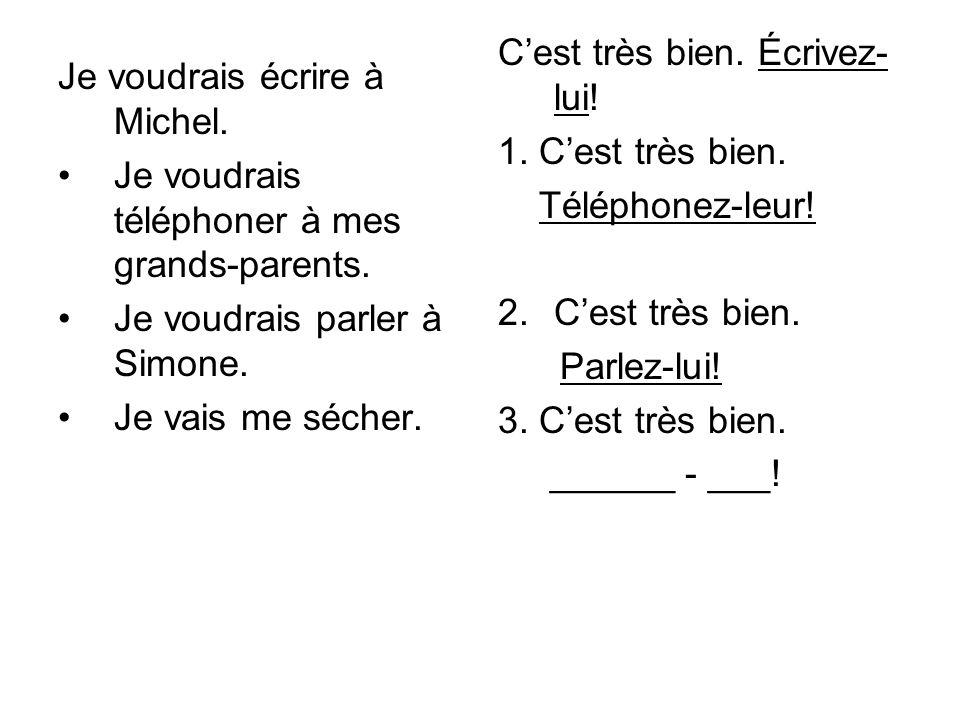 Je voudrais écrire à Michel.Je voudrais téléphoner à mes grands-parents.