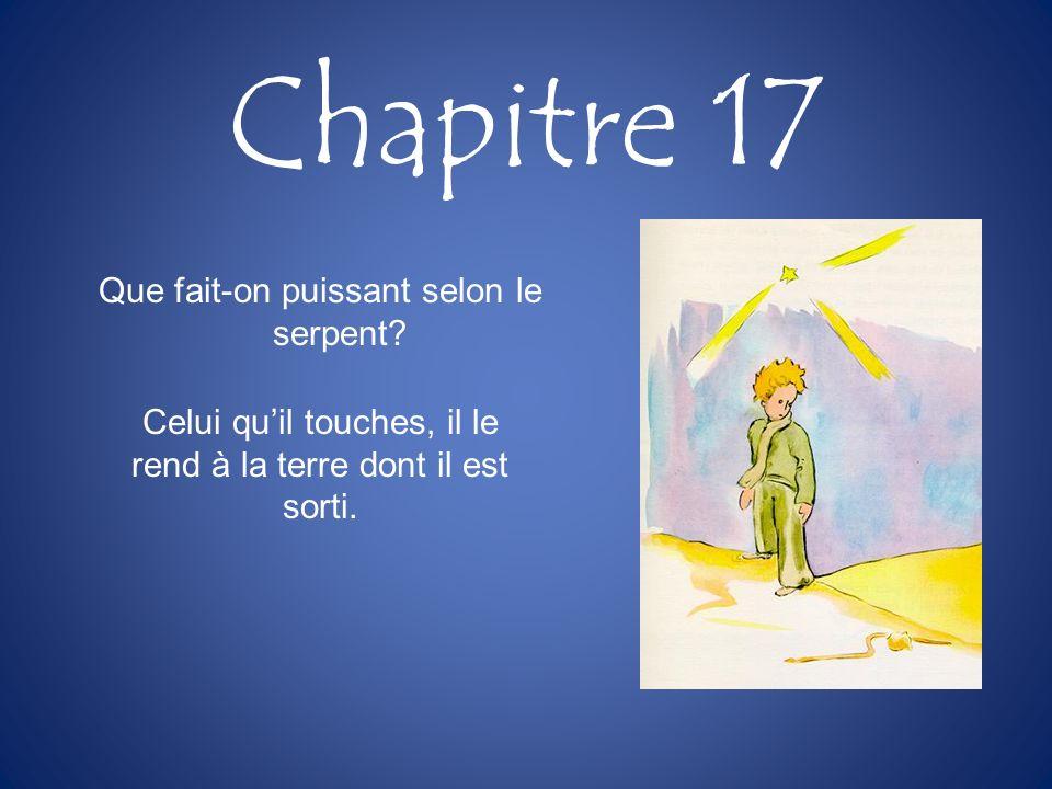 Chapitre 17 Que fait-on puissant selon le serpent? Celui quil touches, il le rend à la terre dont il est sorti.