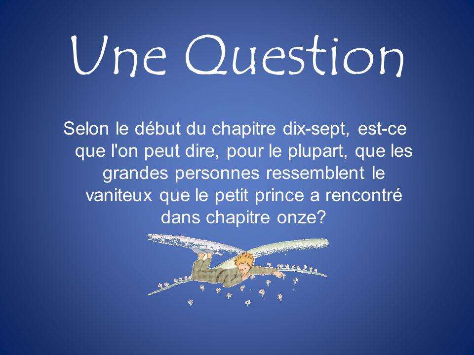 Une Question Selon le début du chapitre dix-sept, est-ce que l'on peut dire, pour le plupart, que les grandes personnes ressemblent le vaniteux que le