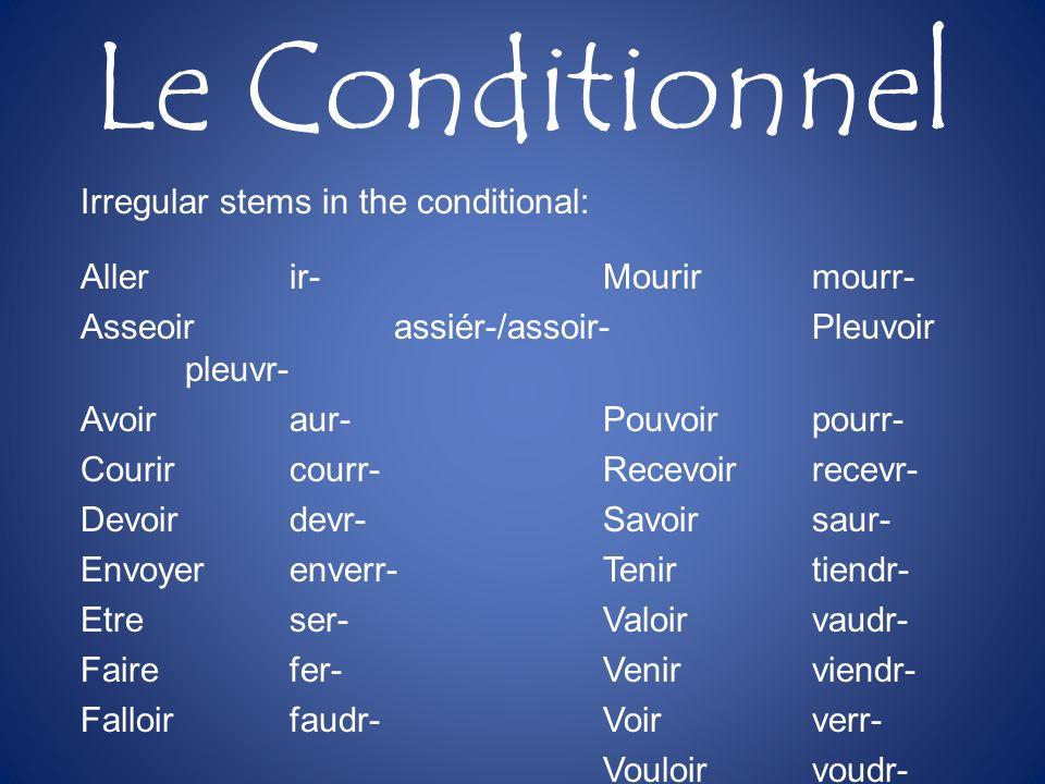 Le Conditionnel Irregular stems in the conditional: Allerir-Mourirmourr- Asseoirassiér-/assoir-Pleuvoir pleuvr- Avoiraur-Pouvoirpourr- Courircourr-Rec