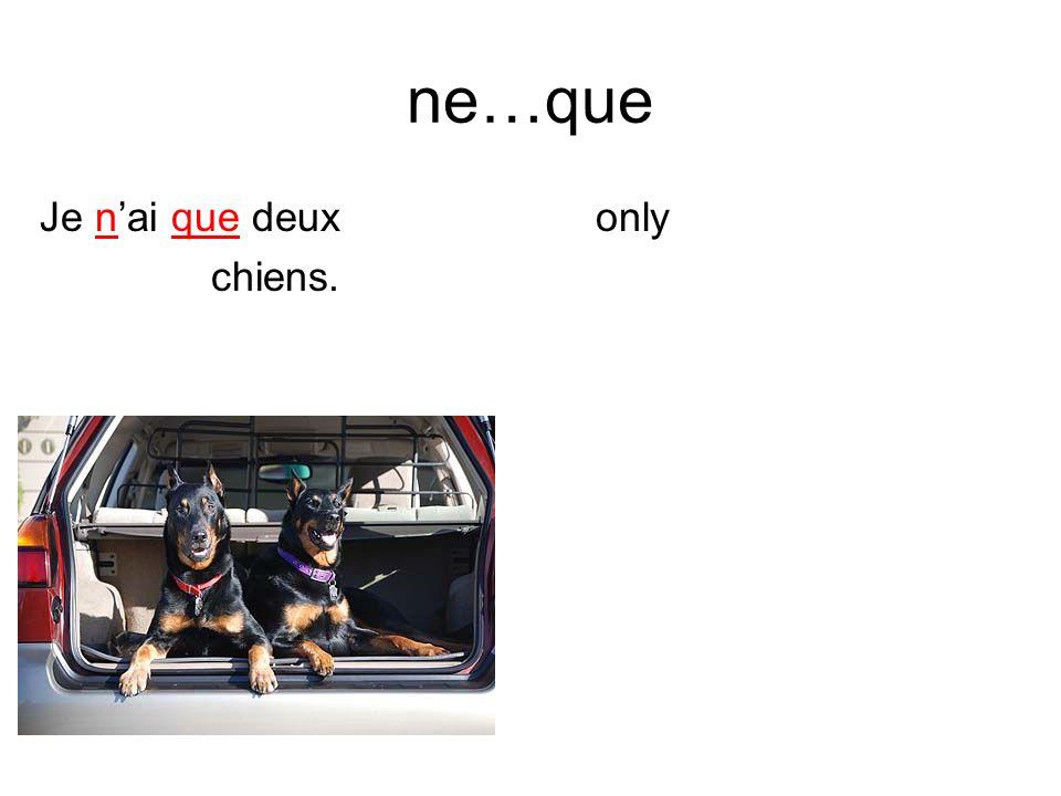 ne…que Je nai que deux chiens. only