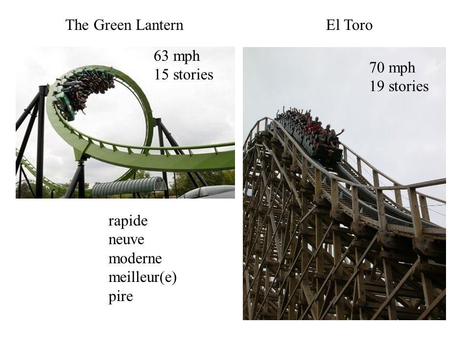 The Green LanternEl Toro 63 mph 15 stories 70 mph 19 stories rapide neuve moderne meilleur(e) pire