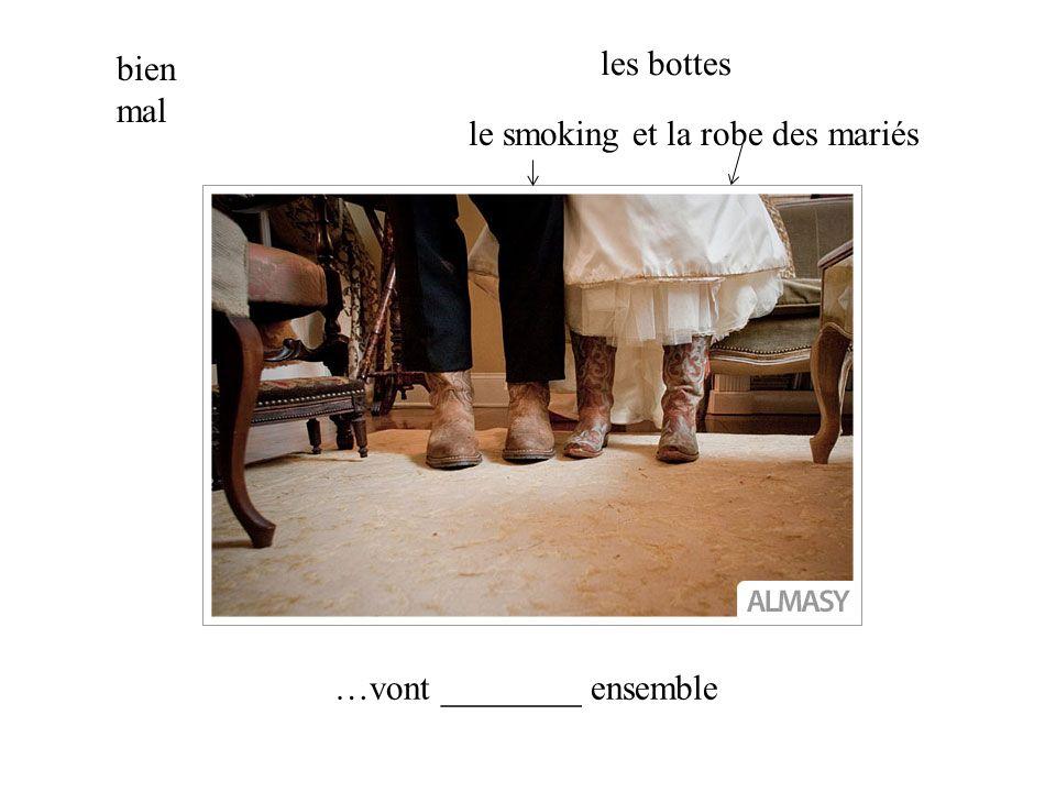 les bottes le smoking et la robe des mariés bien mal …vont ________ ensemble