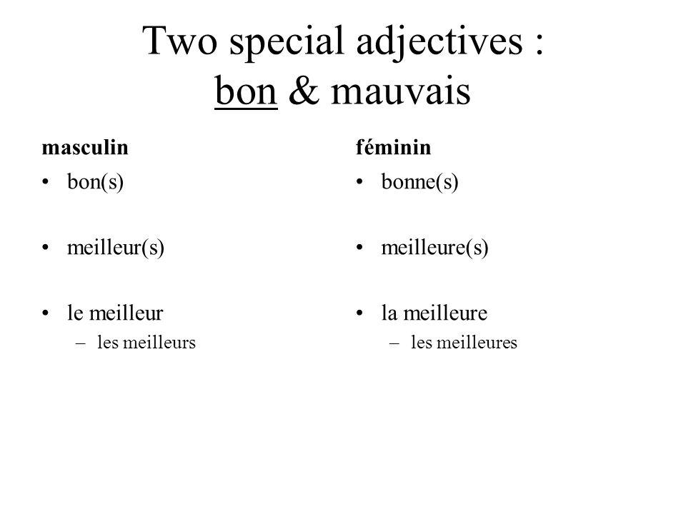 Two special adjectives : bon & mauvais masculin Robert est bon en maths.