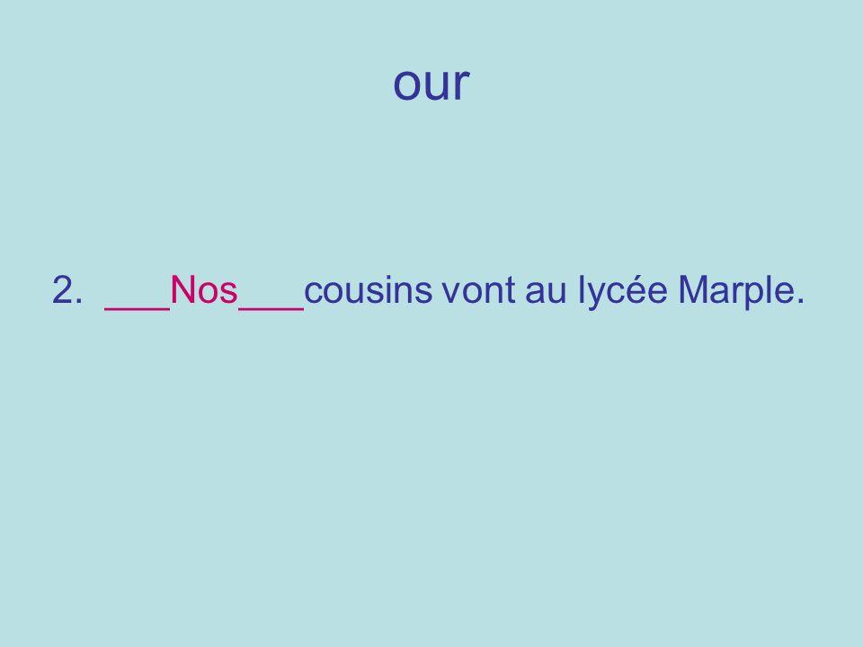 our 2. ___Nos___cousins vont au lycée Marple.