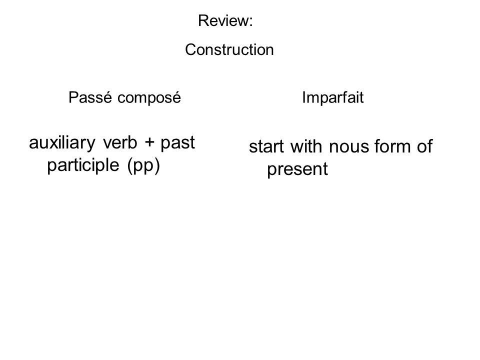 Passé composé Imparfait auxiliary verb + past participle (pp) start with nous form of present Review: Construction