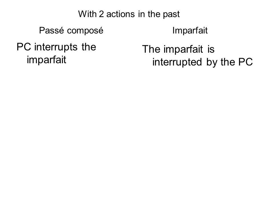 Passé composé Imparfait PC interrupts the imparfait The imparfait is interrupted by the PC With 2 actions in the past