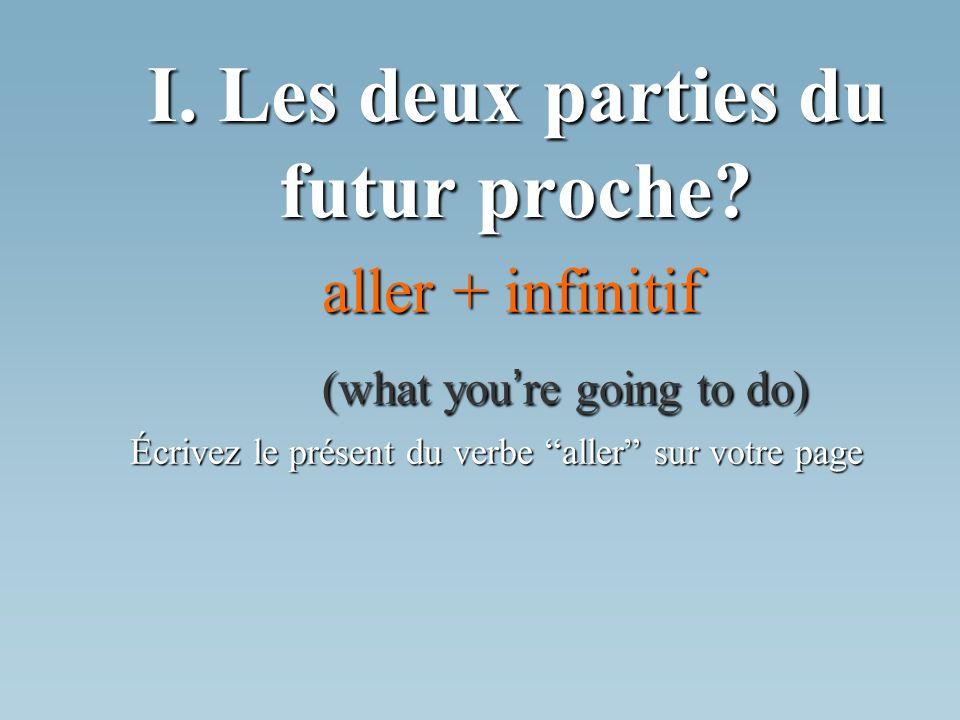 I. Les deux parties du futur proche? aller + infinitif (what you re going to do) Écrivez le présent du verbe aller sur votre page