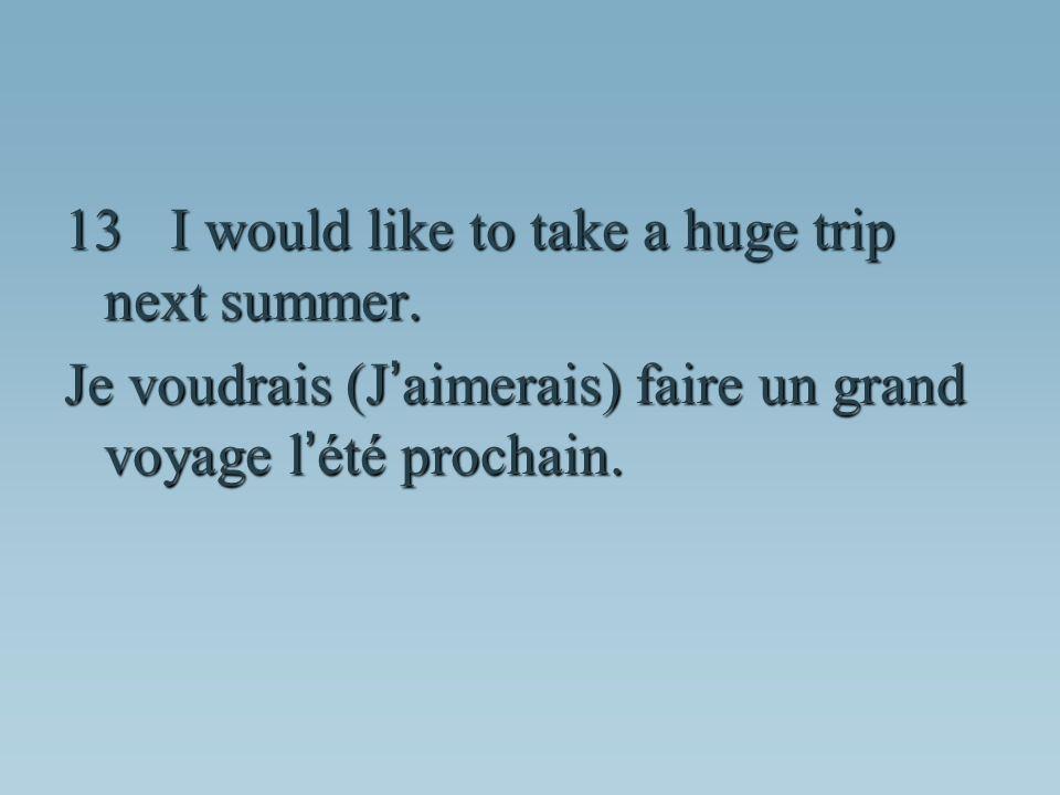 Je voudrais (J aimerais) faire un grand voyage l été prochain.