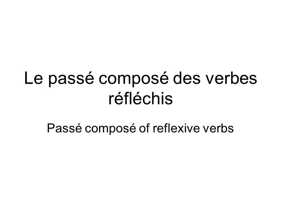 Le passé composé des verbes réfléchis Passé composé of reflexive verbs