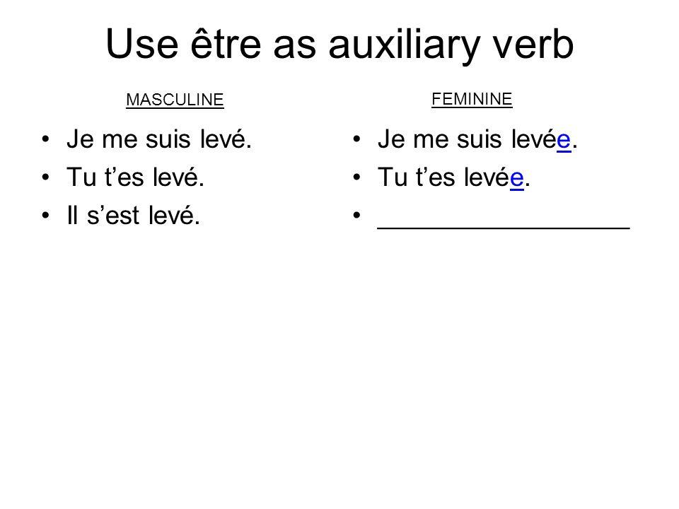 Use être as auxiliary verb Je me suis levé. Tu tes levé.