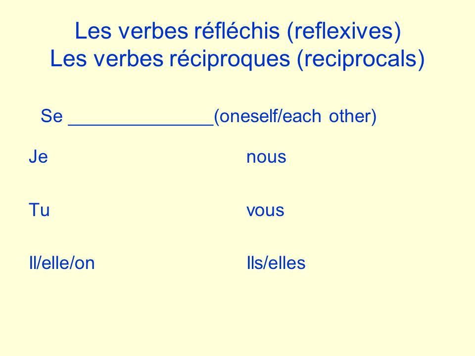 Les verbes réfléchis (reflexives) Les verbes réciproques (reciprocals) Je Tu Il/elle/on Se ______________(oneself/each other) nous vous Ils/elles