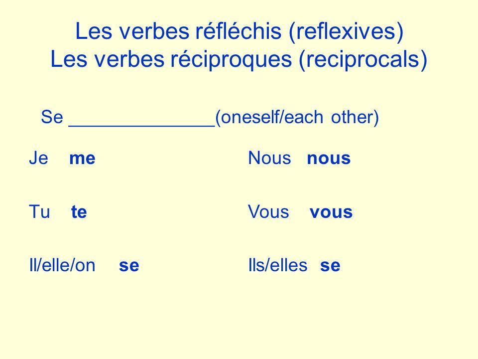 Les verbes réfléchis (reflexives) Les verbes réciproques (reciprocals) Je me Tu te Il/elle/on se Se ______________(oneself/each other) Nous nous Vous vous Ils/elles se