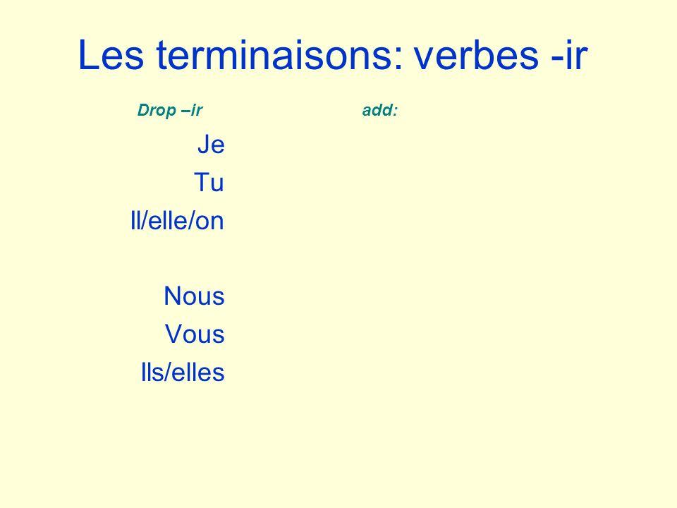 Les terminaisons: verbes -ir Je Tu Il/elle/on Nous Vous Ils/elles Drop –ir add: