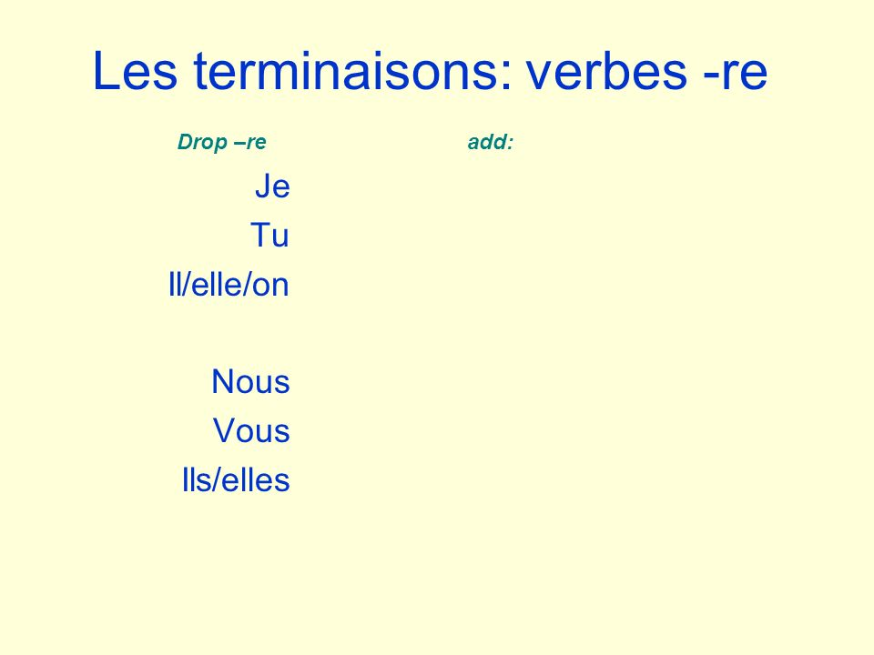 Les terminaisons: verbes -re Je Tu Il/elle/on Nous Vous Ils/elles Drop –re add: