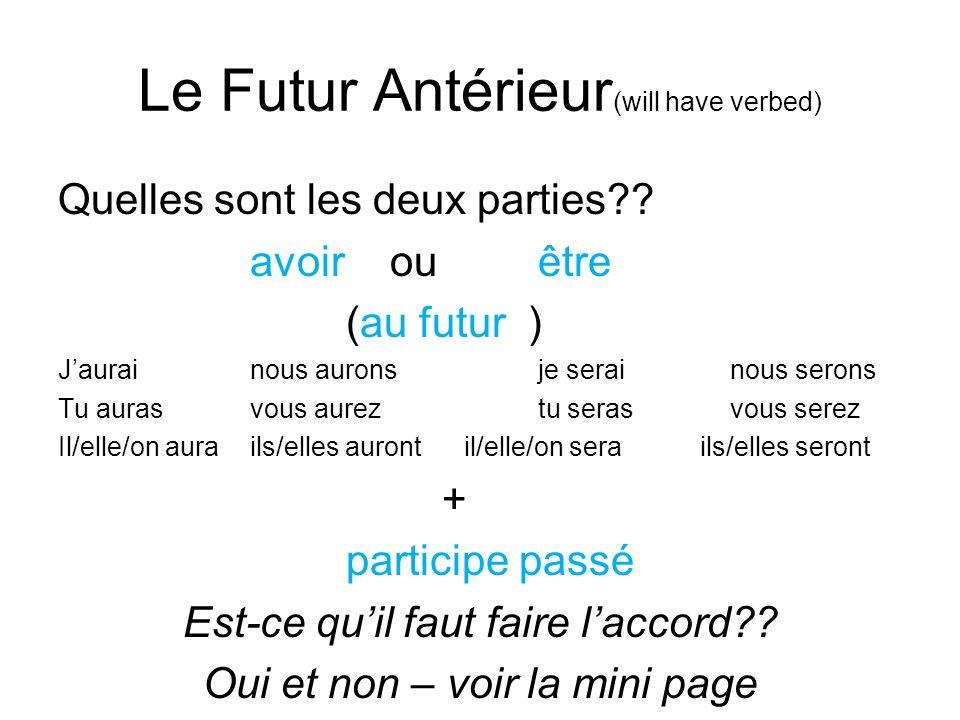 Le Futur Antérieur (will have verbed) Quelles sont les deux parties?? avoir ou être (au futur ) Jaurainous auronsje serainous serons Tu aurasvous aure
