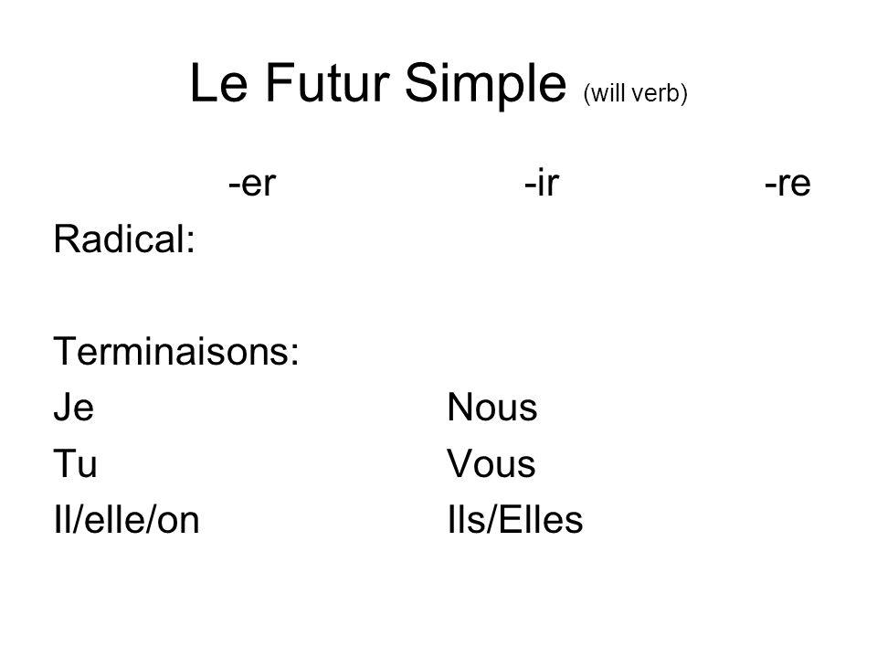 Le Futur Simple (will verb) -er -ir -re Radical: infinitifinfinitif infinitif moins e Terminaisons: Je -ai Nous -ons Tu -as Vous -ez Il/elle/on -a Ils/Elles -ont