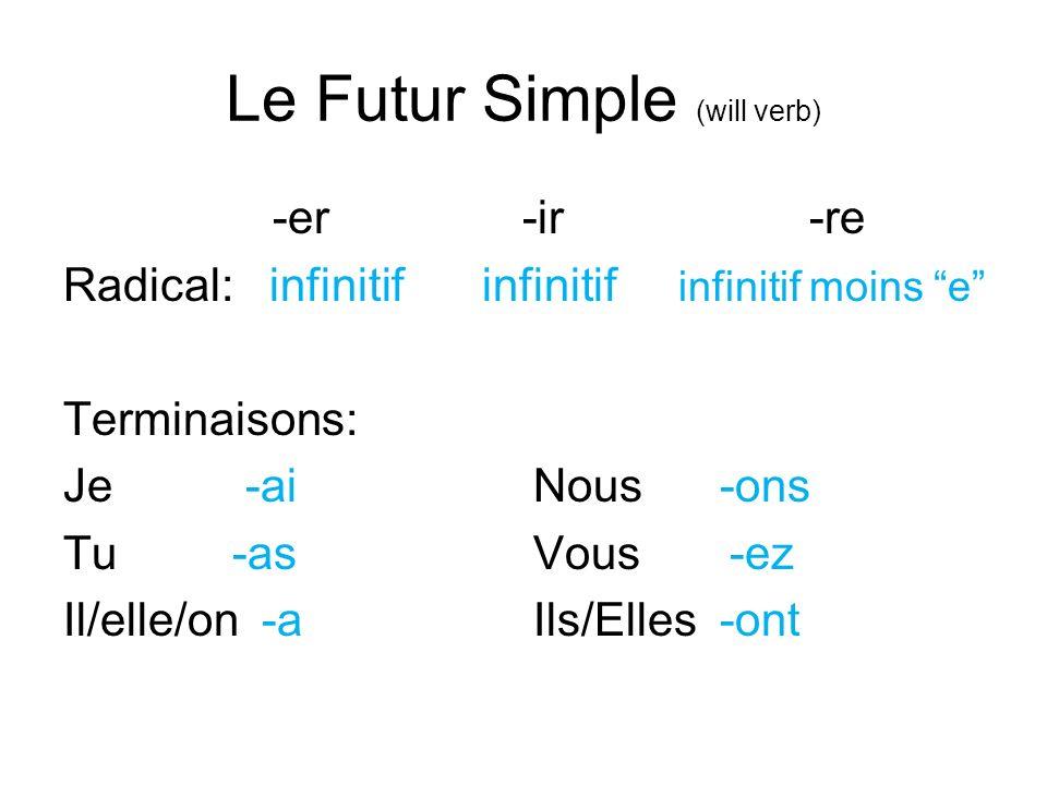 Le Futur Simple (will verb) -er -ir -re Radical: infinitifinfinitif infinitif moins e Terminaisons: Je -ai Nous -ons Tu -as Vous -ez Il/elle/on -a Ils