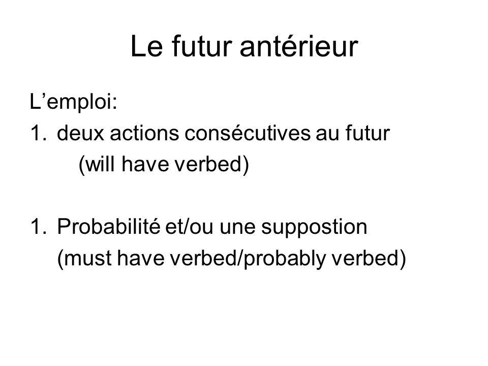 Le futur antérieur Lemploi: 1.deux actions consécutives au futur (will have verbed) 1.Probabilité et/ou une suppostion (must have verbed/probably verb