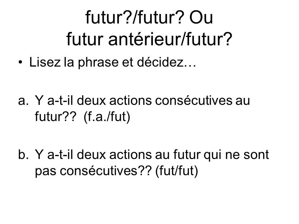 futur?/futur? Ou futur antérieur/futur? Lisez la phrase et décidez… a.Y a-t-il deux actions consécutives au futur?? (f.a./fut) b.Y a-t-il deux actions