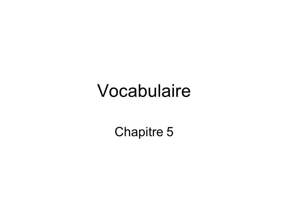 Vocabulaire Chapitre 5