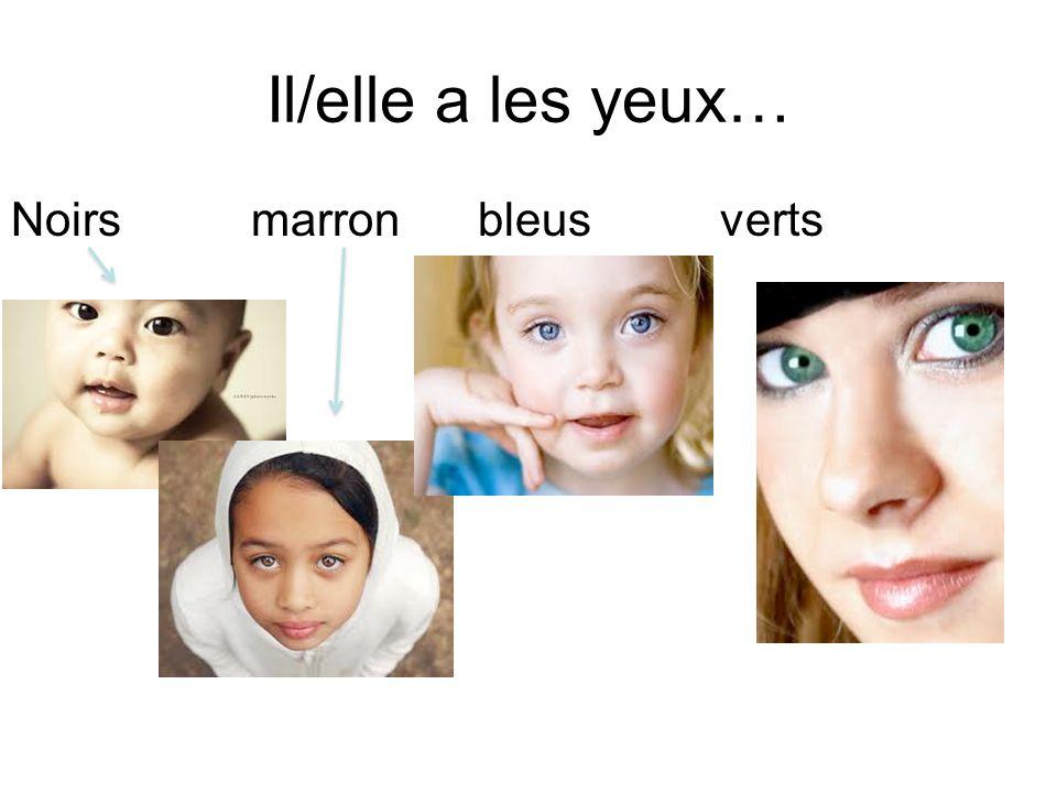 Il/elle a les yeux… Noirs marron bleus verts