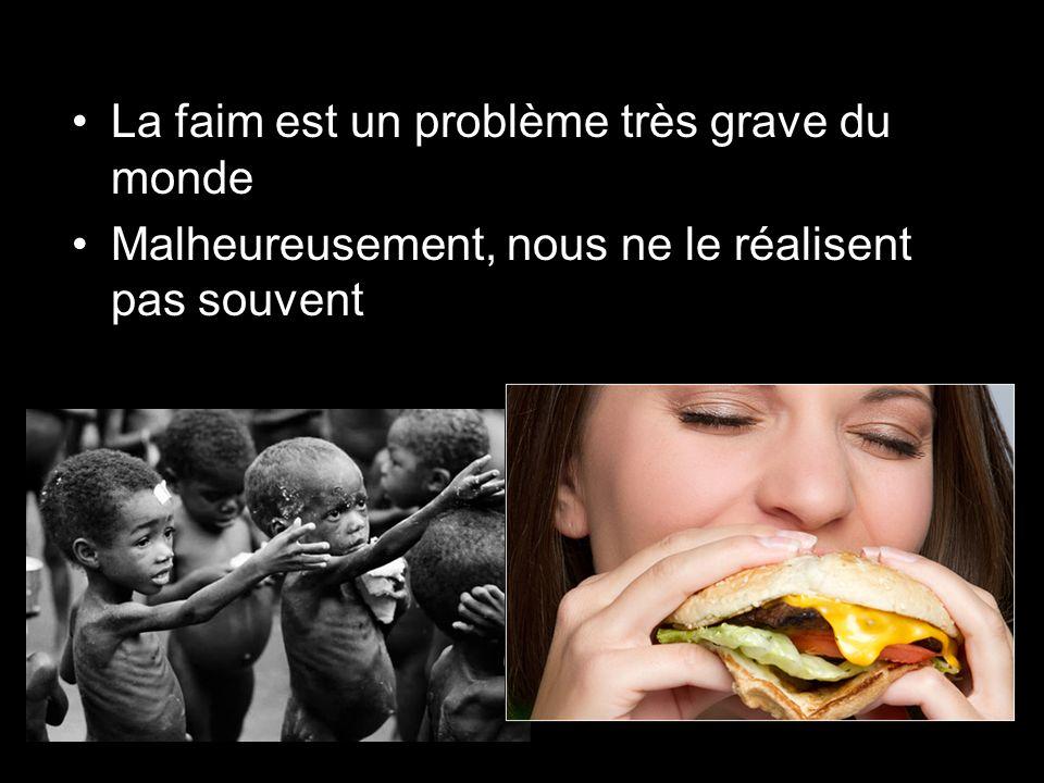 La faim est un problème très grave du monde Malheureusement, nous ne le réalisent pas souvent