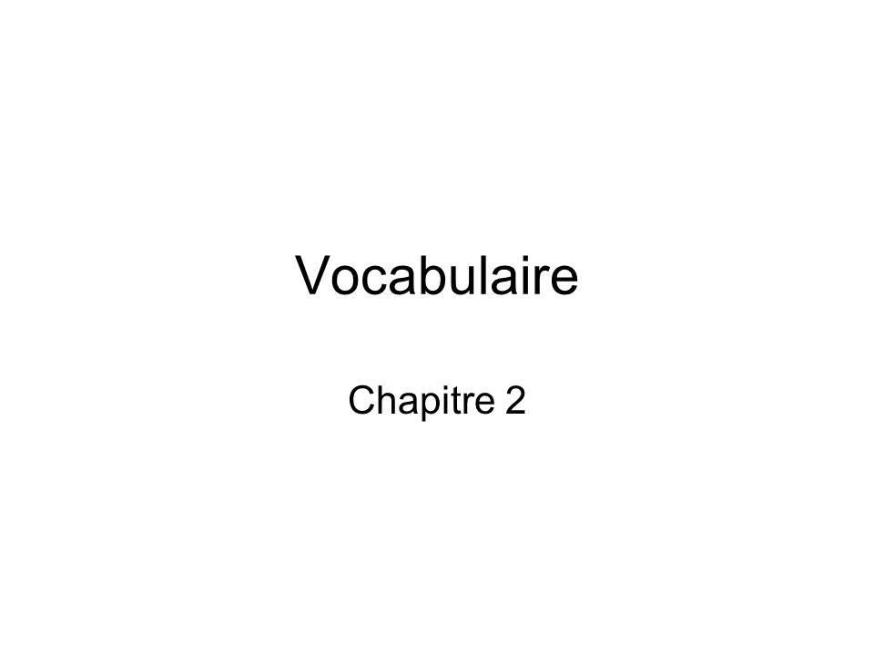 Vocabulaire Chapitre 2
