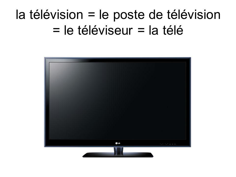 la télévision = le poste de télévision = le téléviseur = la télé