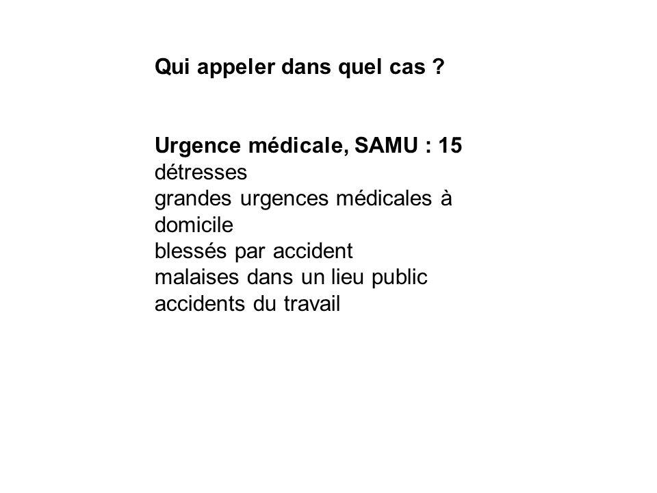 Qui appeler dans quel cas ? Urgence médicale, SAMU : 15 détresses grandes urgences médicales à domicile blessés par accident malaises dans un lieu pub
