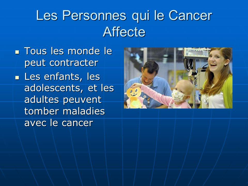 Les Personnes qui le Cancer Affecte Tous les monde le peut contracter Tous les monde le peut contracter Les enfants, les adolescents, et les adultes peuvent tomber maladies avec le cancer Les enfants, les adolescents, et les adultes peuvent tomber maladies avec le cancer