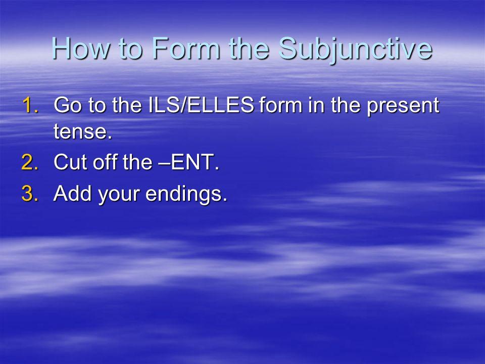 Subjunctive Endings Je: e Je: e Tu: es Tu: es Il: e Il: e Nous: ions Nous: ions Vous: iez Vous: iez Ils: ent Ils: ent