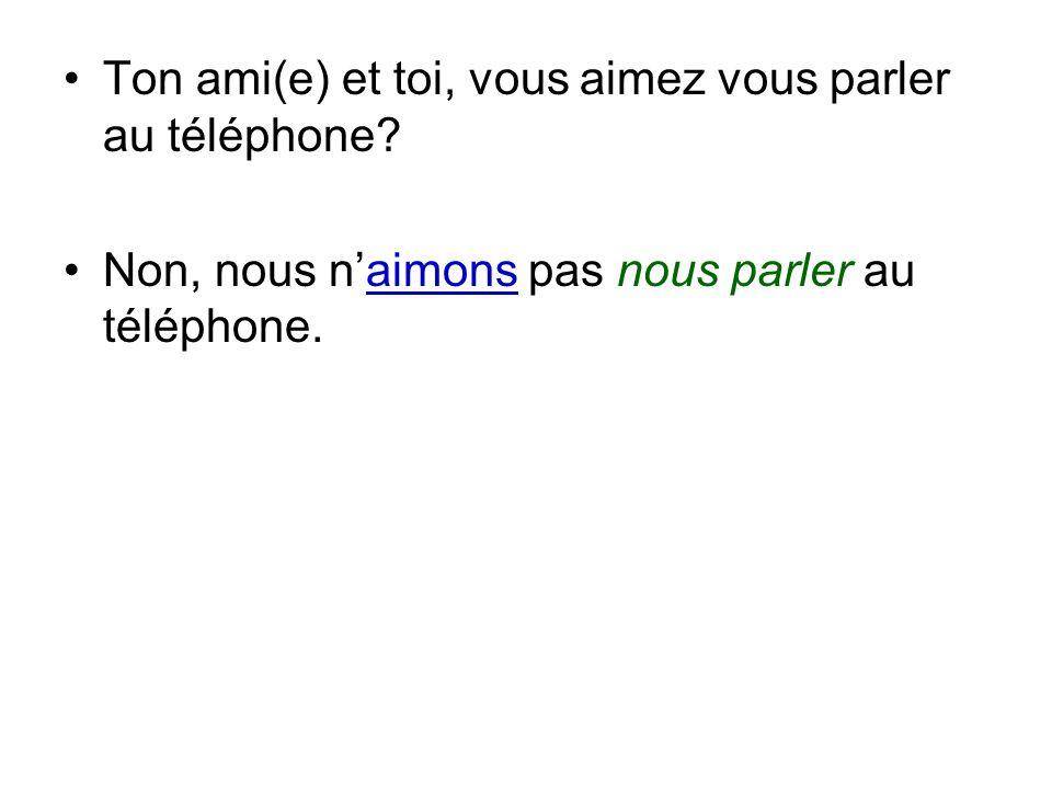 Non, nous naimons pas nous parler au téléphone.